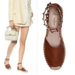 Valentino Rockstud Double Leather Espadrille Flat